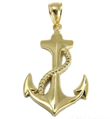 SOLID 14K YELLOW GOLD SHINY HAWAIIAN ANCHOR ROPE CHARM PENDANT MEDIUM 17MM