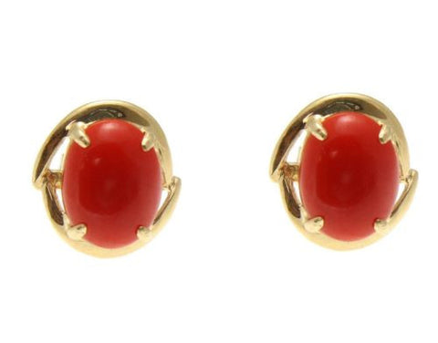 GENUINE NATURAL RED CORAL STUD POST EARRINGS SOLID 14K YELLOW GOLD