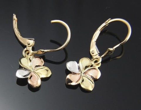 11MM SOLID 14K TRICOLOR GOLD HAWAIIAN FANCY PLUMERIA FLOWER EARRINGS LEVERBACK