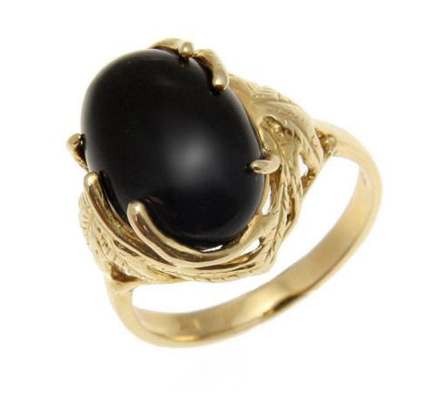 GENUINE NATURAL CABOCHON BLACK CORAL RING SET IN SOLID 14K YELLOW GOLD