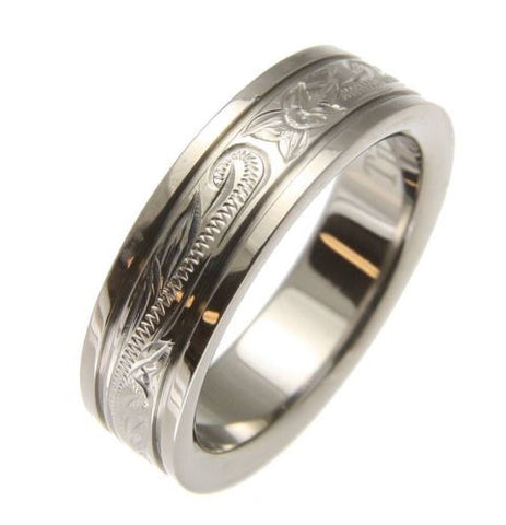 TITANIUM HAND ENGRAVED HAWAIIAN PLUMERIA SCROLL BAND RING SMOOTH EDGE 6MM