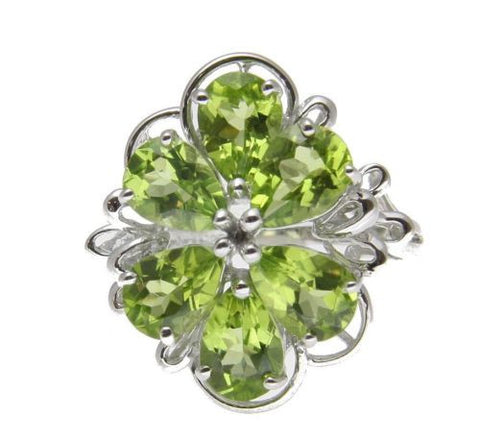 4.45CTW GENUINE PEAR SHAPE PERIDOT CLUSTER RING SET IN SOLID 14K WHITE GOLD