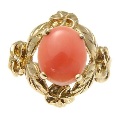 GENUINE NATURAL PINK CORAL RING HAWAIIAN PLUMERIA FLOWER MAILE 14K YELLOW GOLD