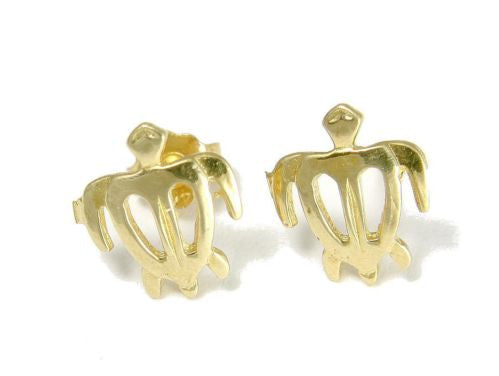 9MM SOLID 14K YELLOW GOLD HAWAIIAN HONU TURTLE STUD POST EARRINGS SMALL