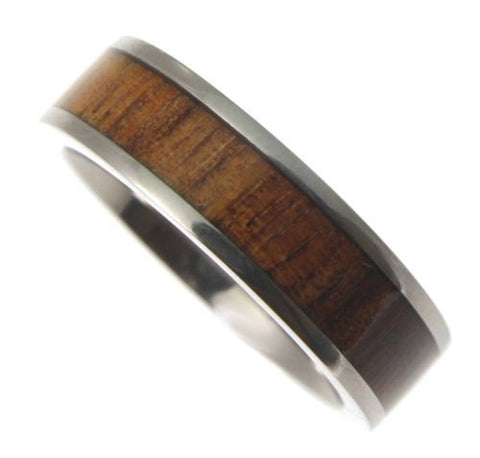 GENUINE HAWAIIAN KOA WOOD INLAY OPAL BAND RING TITANIUM COMFORT FIT 6MM