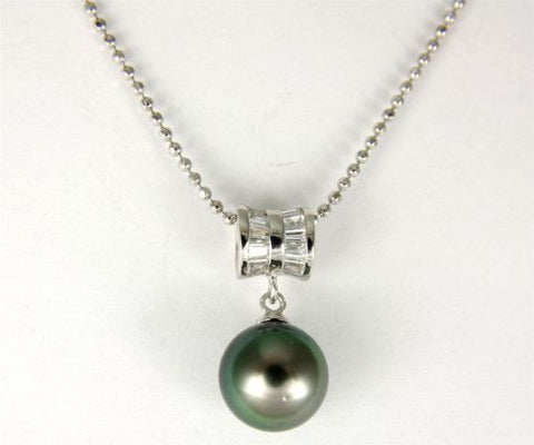"9.05MM GENUINE TAHITIAN PEARL PENDANT SOLID 925 SILVER CZ (18"" CHAIN INCLUDED)"