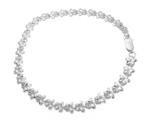 SOLID 14K WHITE GOLD HAWAIIAN PLUMERIA FLOWER BRACELET DIAMOND CUT 6MM 7""