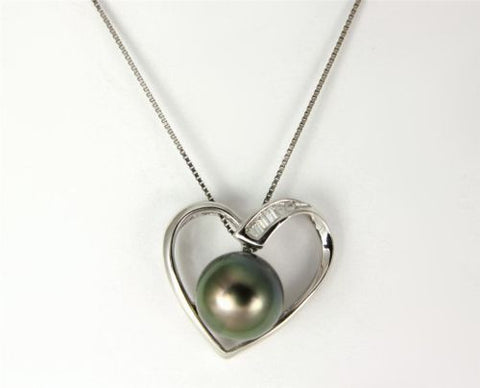 "8.67MM GENUINE TAHITIAN PEARL HEART PENDANT SOLID 925 SILVER 18"" CHAIN INCLUDED"