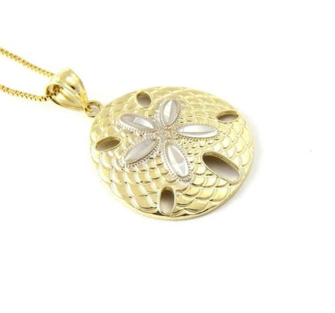 18MM 14K SOLID YELLOW HAWAIIAN SAND DOLLAR CHARM PENDANT WHITE GOLD DIAMOND CUT