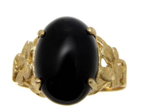 GENUINE NATURAL BLACK CORAL RING HAWAIIAN PLUMERIA FLOWER 14K YELLOW GOLD