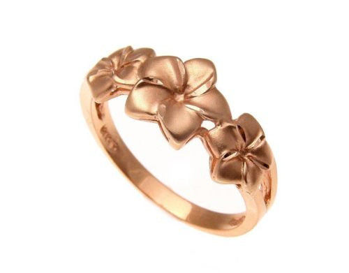 SOLID 14K ROSE GOLD HAWAIIAN 7MM-9MM-7MM PLUMERIA FLOWER RING