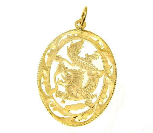 14K SOLID YELLOW GOLD DIAMOND CUT DRAGON DESIGN PENDANT OVAL