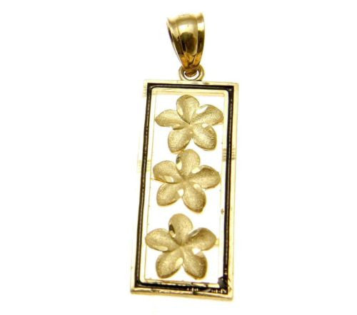 14K YELLOW GOLD HAWAIIAN 3 PLUMERIA VERTICAL PENDANT BLACK ENAMEL BORDER 9.85MM
