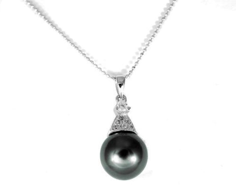 "10.68MM GENUINE TAHITIAN PEARL PENDANT SOLID 925 SILVER CZ (18"" CHAIN INCLUDED)"