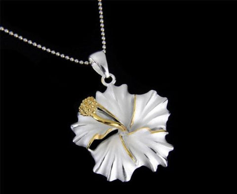 YELLOW GOLD PLATED 2TONE SILVER 925 HAWAIIAN HIBISCUS FLOWER PENDANT 12MM - 25MM
