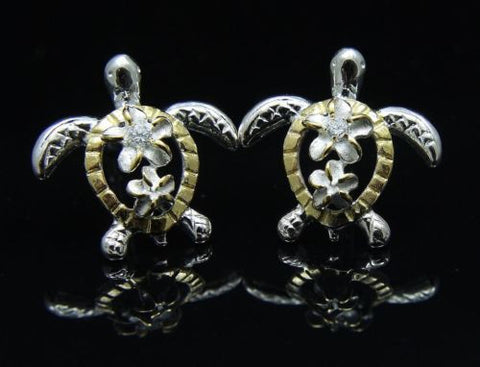 SILVER 925 YELLOW GOLD PLATED HAWAIIAN PLUMERIA HONU TURTLE EARRINGS 13.40MM