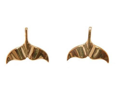 YELLOW ROSE GOLD PLATED RHODIUM SILVER 925 HAWAIIAN WHALE TAIL STUD EARRINGS
