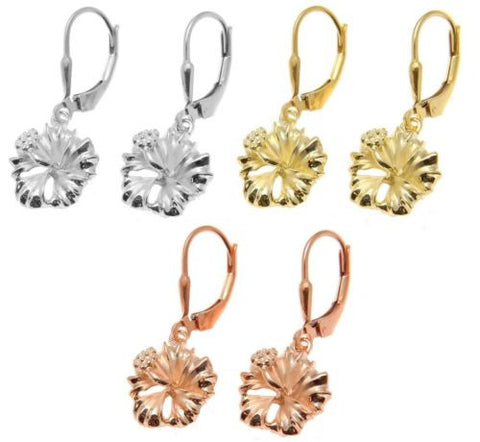 YELLOW ROSE GOLD PLATED SILVER 925 HAWAIIAN HIBISCUS LEVERBACK EARRINGS 12MM