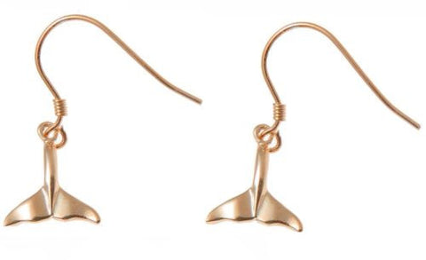 YELLOW ROSE GOLD PLATED RHODIUM SILVER 925 HAWAIIAN WHALE TAIL HOOK EARRINGS SM