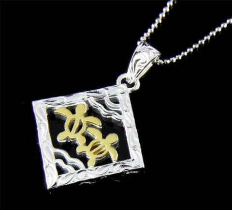 THICK SILVER 925 HAWAIIAN SCROLL 2 YELLOW GOLD PLATED HONU TURTLE SQUARE PENDANT
