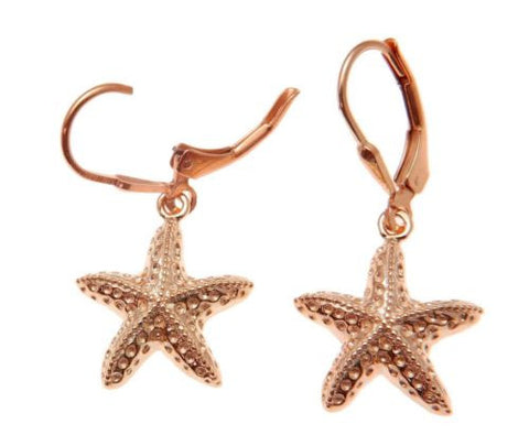 ROSE GOLD PLATED SILVER 925 HAWAIIAN SEA STARFISH HOOK LEVERBACK EARRINGS 15MM