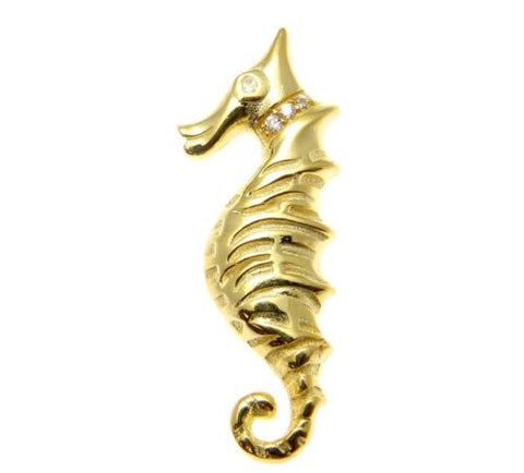 YELLOW ROSE GOLD PLATED RHODIUM SILVER 925 HAWAIIAN SEAHORSE SLIDE PENDANT 12MM