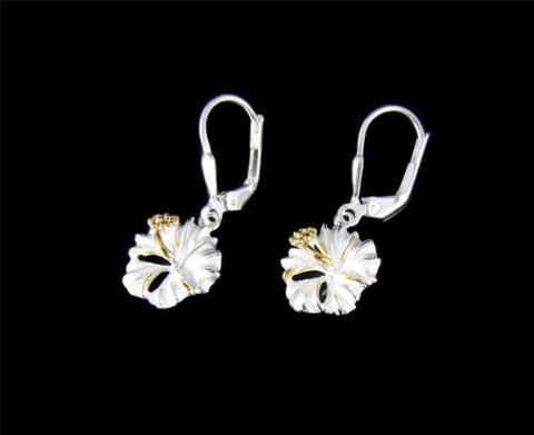 YELLOW GOLD PLATED 2T SILVER 925 HAWAIIAN HIBISCUS EARRINGS LEVERBACK 10MM -18MM