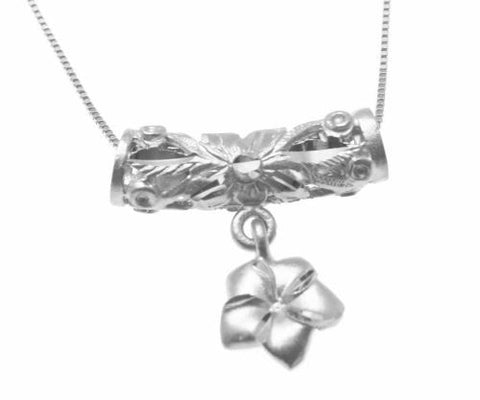 14K YELLOW ROSE WHITE GOLD HAWAIIAN DIAMOND CUT SCROLL BARREL PLUMERIA PENDANT