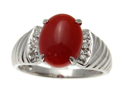 GENUINE NATURAL CABOCHON RED CORAL DIAMOND RING SET IN SOLID 14K WHITE GOLD