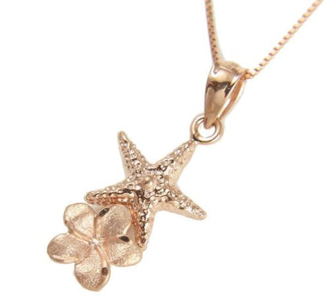 HEAVY 14K ROSE GOLD HAWAIIAN STARFISH PLUMERIA FLOWER CHARM PENDANT 10.50MM
