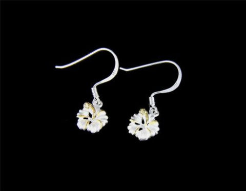 YELLOW GOLD PLATED 2T SILVER 925 HAWAIIAN HIBISCUS EARRINGS WIRE HOOK 8MM -18MM