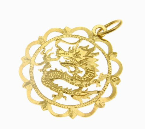 14K SOLID YELLOW GOLD DIAMOND CUT DRAGON DESIGN PENDANT ROUND WAVE