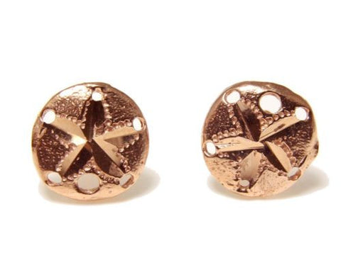 SOLID 14K ROSE GOLD HAWAIIAN DIAMOND CUT SAND DOLLAR STUD EARRINGS SMALL 9MM