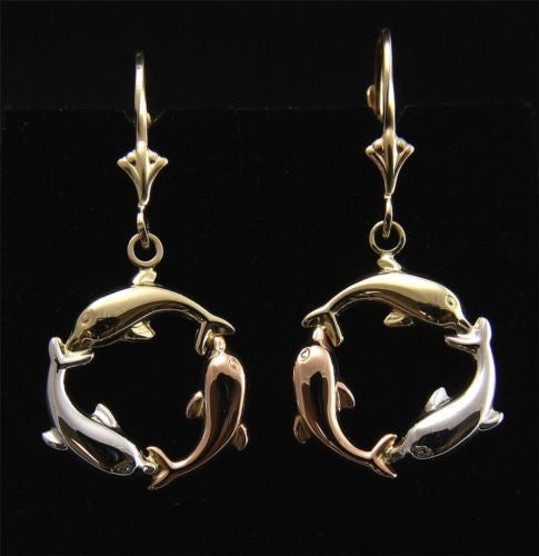 14K TRICOLOR GOLD HIGH POLISH HAWAIIAN 3D DOLPHIN CIRCLE LEVERBACK EARRINGS