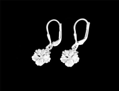 STERLING SILVER 925 HAWAIIAN HIBISCUS FLOWER EARRINGS LEVERBACK 10MM -18MM