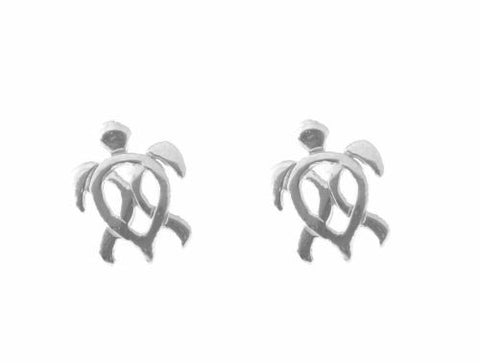 SOLID 14K YELLOW ROSE WHITE GOLD HAWAIIAN HONU TURTLE STUD EARRINGS SMALL 8MM
