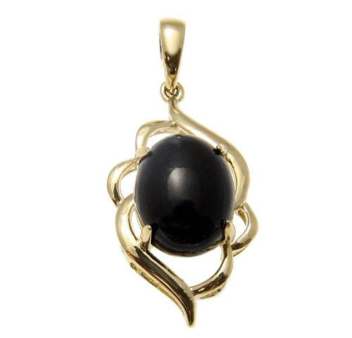 GENUINE NATURAL OVAL CABOCHON BLACK CORAL PENDANT IN SOLID 14K YELLOW GOLD