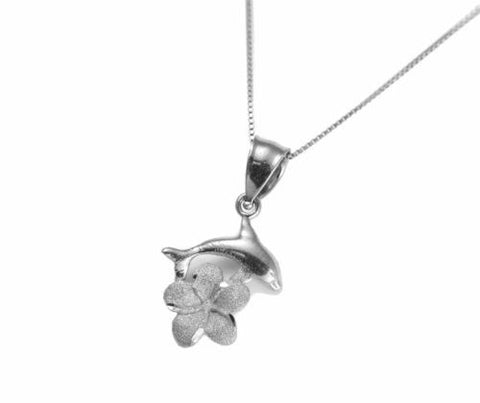 SOLID 14K WHITE GOLD HAWAIIAN DOLPHIN PLUMERIA FLOWER CHARM PENDANT 12MM