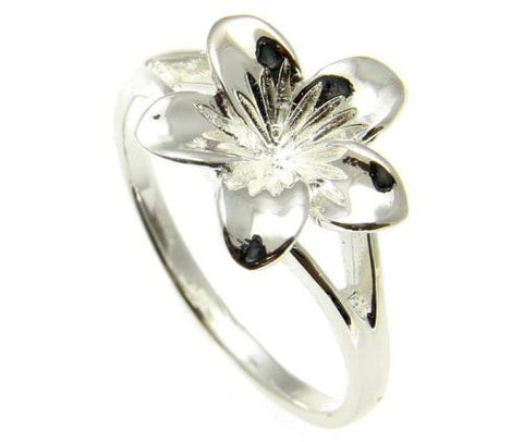 STERLING SILVER 925 HIGH POLISH SHINY HAWAIIAN SINGLE PLUMERIA FLOWER RING 13MM