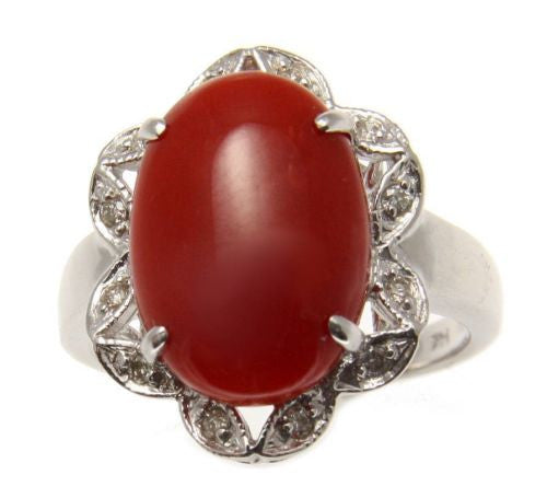 GENUINE NATURAL OVAL CABOCHON RED CORAL DIAMOND RING IN SOLID 14K WHITE GOLD