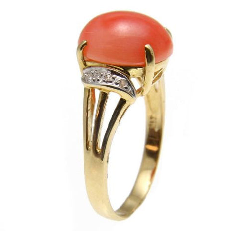 GENUINE NATURAL PINK CORAL & DIAMOND RING SET IN SOLID 14K YELLOW GOLD