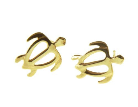 10.50MM SOLID 14K YELLOW GOLD HAWAIIAN HONU TURTLE STUD POST EARRINGS MEDIUM