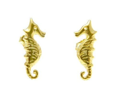YELLOW ROSE GOLD PLATED RHODIUM SILVER 925 HAWAIIAN SEAHORSE STUD EARRINGS SMALL