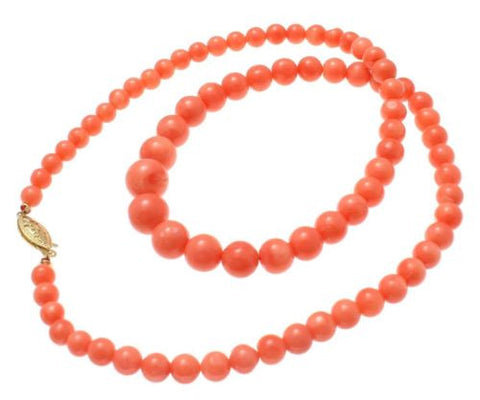 GENUINE NATURAL NOT ENHANCED GRADUATED PINK CORAL BEAD STRAND NECKLACE 14K CLASP