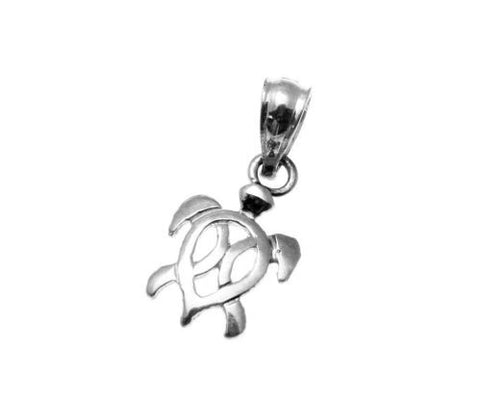 SOLID 14K YELLOW ROSE WHITE GOLD HAWAIIAN HONU TURTLE CHARM PENDANT SMALL 7.75MM