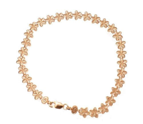 SOLID 14K ROSE GOLD HAWAIIAN PLUMERIA FLOWER BRACELET 6MM 7""