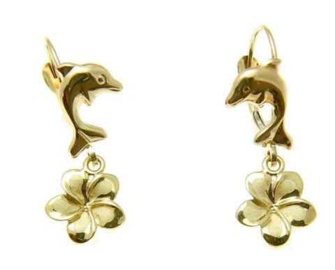 SOLID 14K YELLOW GOLD DOLPHIN LEVERBACK HAWAIIAN PLUMERIA FLOWER DANGLE EARRINGS