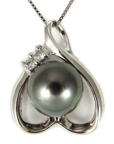 "8.67MM GENUINE TAHITIAN PEARL PENDANT SOLID 925 SILVER CZ (18"" CHAIN INCLUDED)"