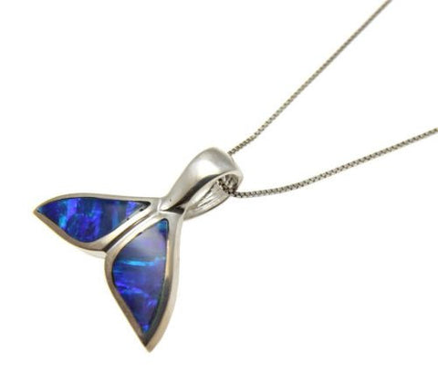 INLAY OPAL SOLID 14K WHITE GOLD HAWAIIAN WHALE TAIL SLIDE PENDANT 18MM 22MM 29MM