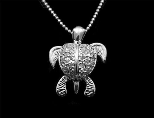 STERLING SILVER 925 HAWAIIAN 3D MOVING SEA TURTLE PENDANT SPARKLY CZ 18.70MM